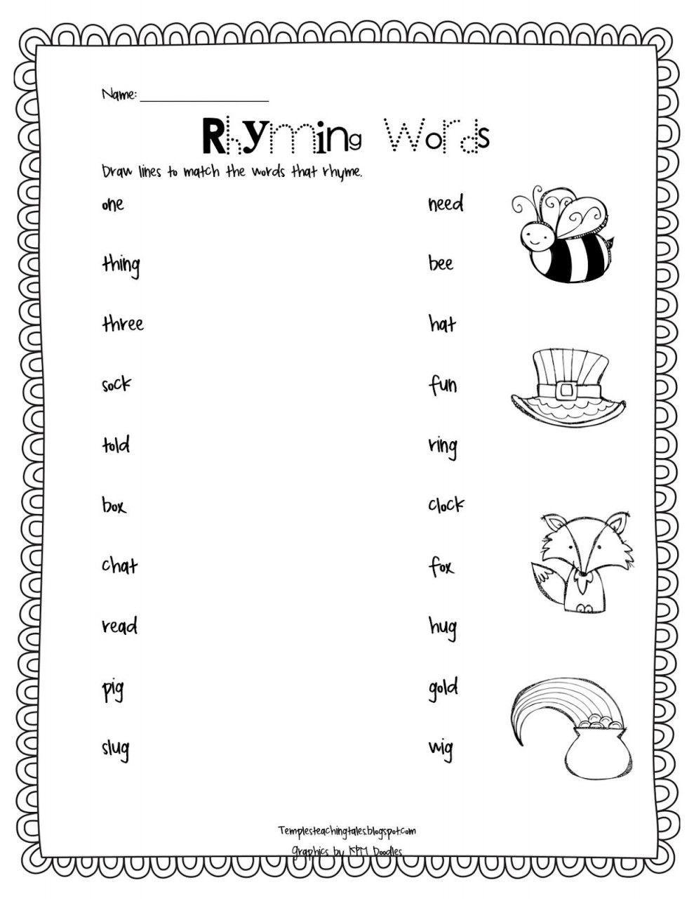 Rhyming Words Worksheets For Kindergarten Rhyming