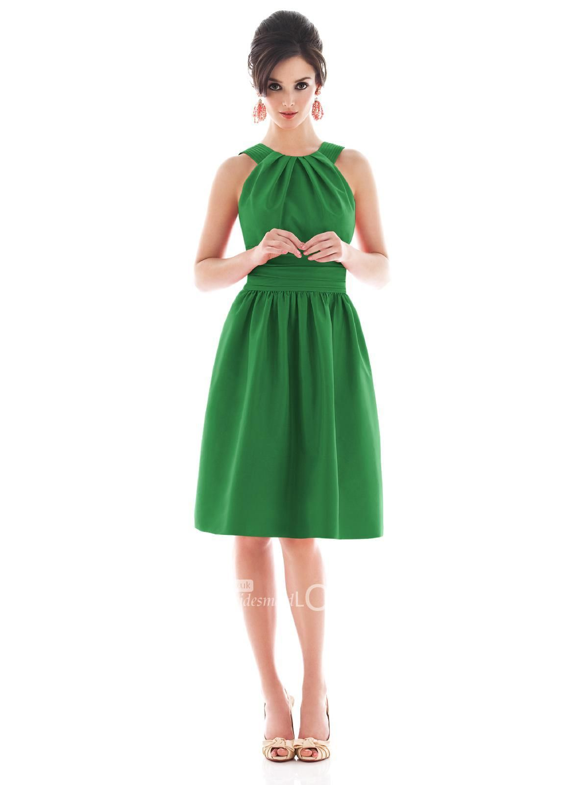 Cute mini ivy halter bridesmaid dress with stitched straps bodice alfred sung style retro vintage bridesmaid dress in pine green from weddington way ombrellifo Choice Image