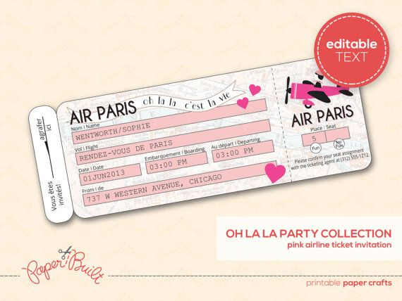 Paris Theme Party Boarding Pass Invitation Real Airline Ticket – Printable Ticket Paper