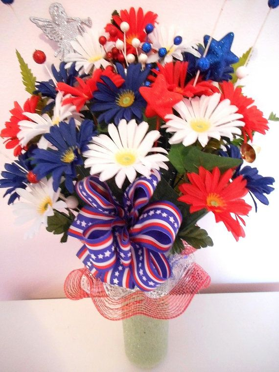 Patriotic Cemetery Flower Arrangement, Headstone Flower Arrangement with Deco Mesh, Red White