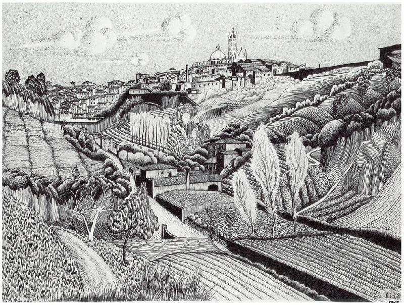 Escher Italian Landscape Around Siena 1923 Lithography Italian Landscape Escher Art Graphic Artist
