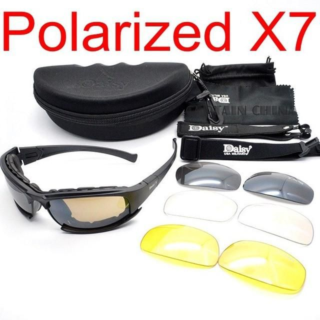 DAISY X7 Camouflage Goggles 4LS Men Military Polarized Sunglasses Bullet-proof A