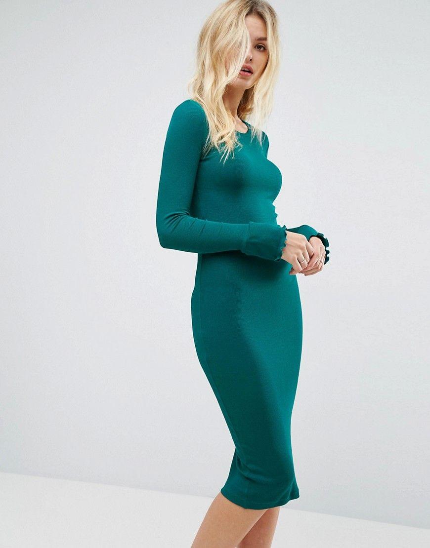 Asos Midi Rib Bodycon Dress With Frill Cuffs Green Green Bodycon Dress Ribbed Bodycon Dress Bodycon Dress Parties [ 1110 x 870 Pixel ]