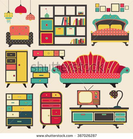 Old Retro House Appliance Furniture And Interior Decoration Flat Icon  Design, Create By Vector