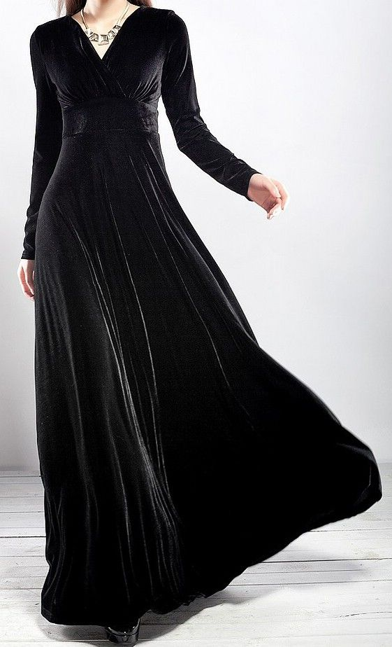 094bb676835 ... plus size women dress. Goth Steampunk Vintage Black Velvet Gown Holiday  Dress - Dresses