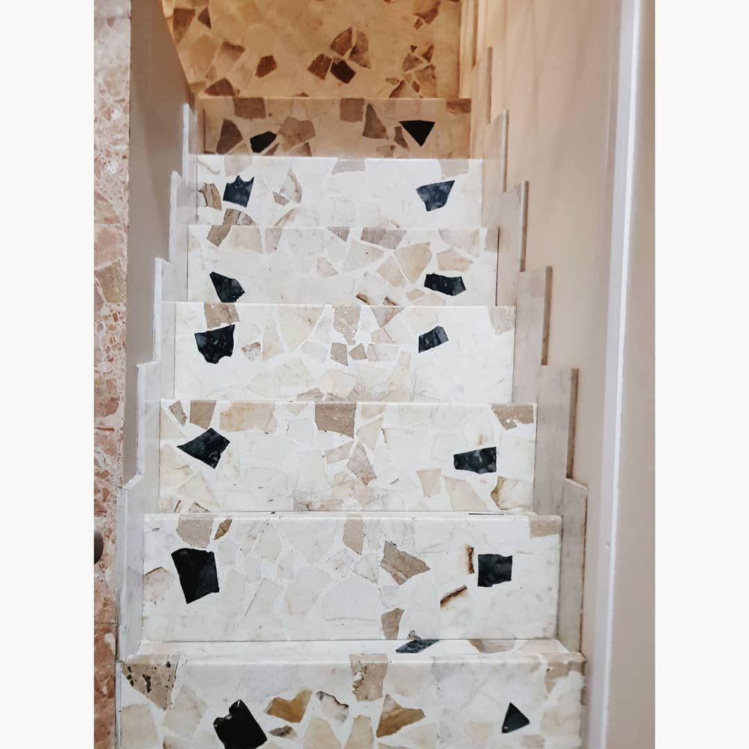 Terrazzo Staircase with large aggregates #stairs | Terrazzo