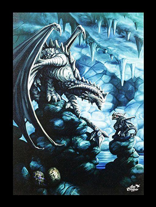 Kleine Leinwand Stein Drache Rock Dragon 25 x 19 cm - Bilder