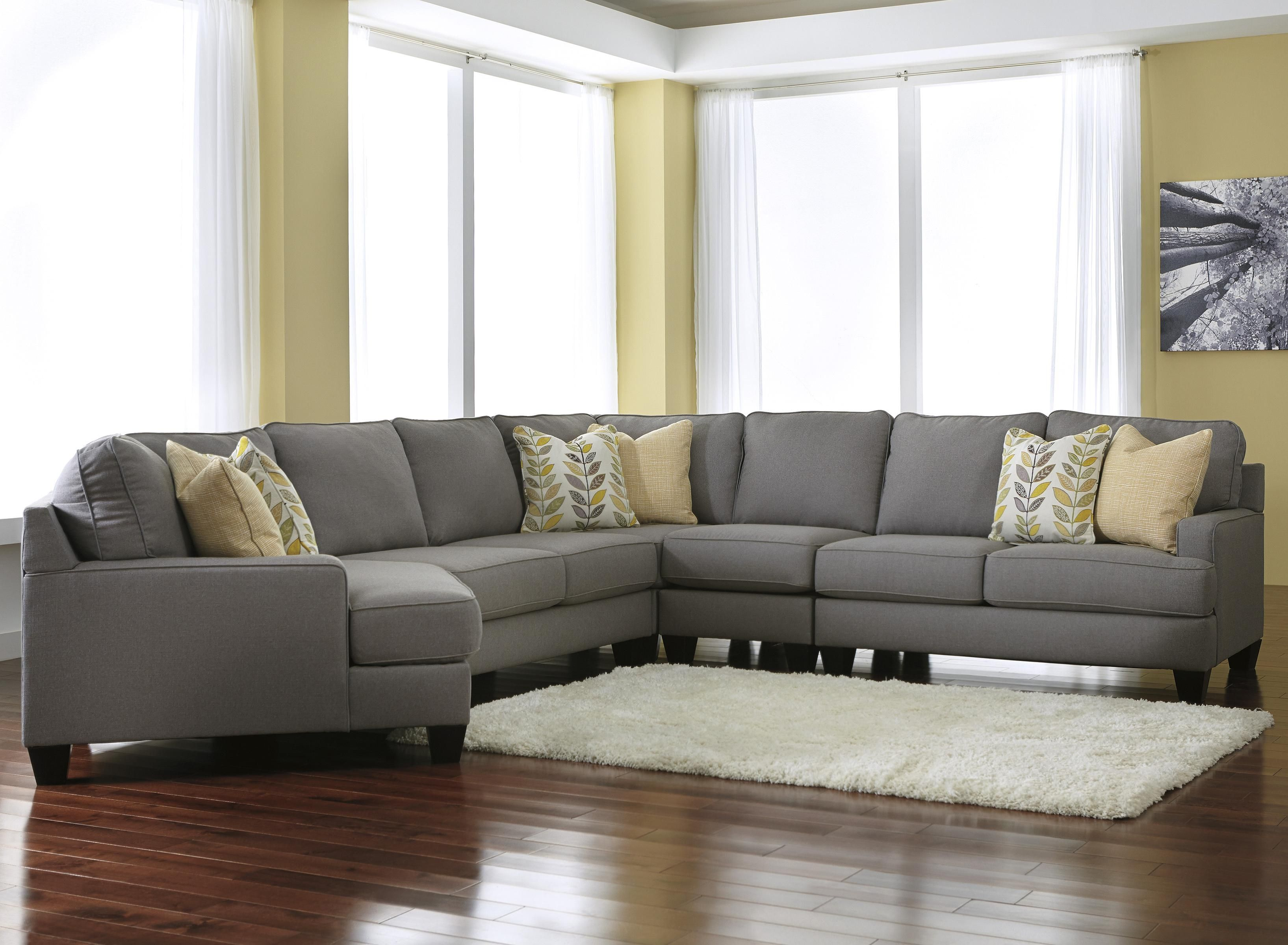 Modern 5 Piece Sectional Sofa with Left Cuddler & Reversible Seat