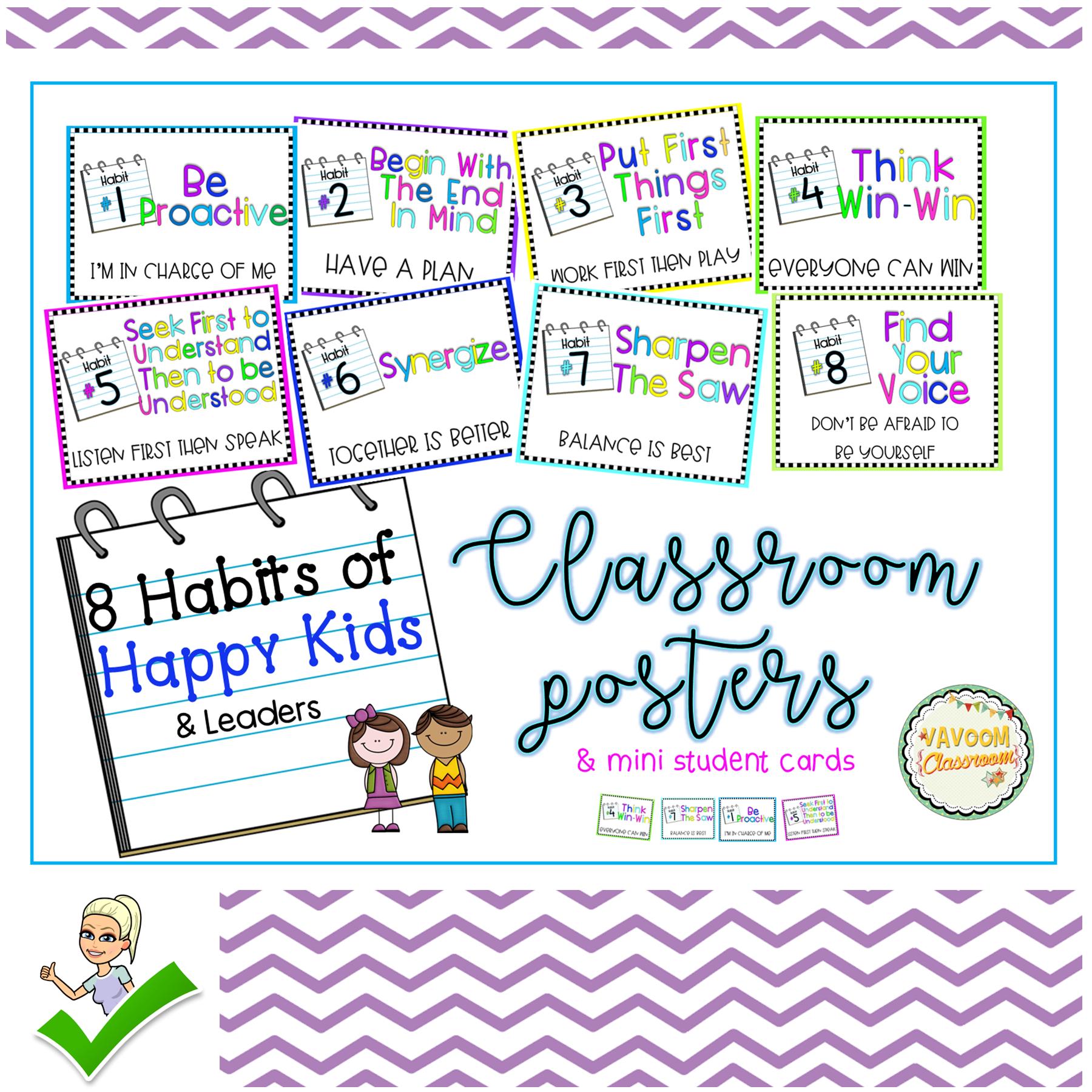8 Habits Of Happy Kids Amp Leader In Me Habits Posters Plus
