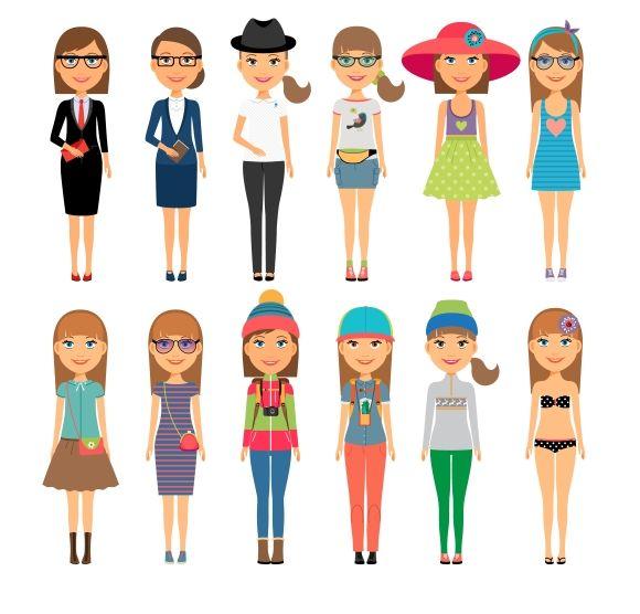 Cutie cartoon fashion girls by Microvector on Creative Market