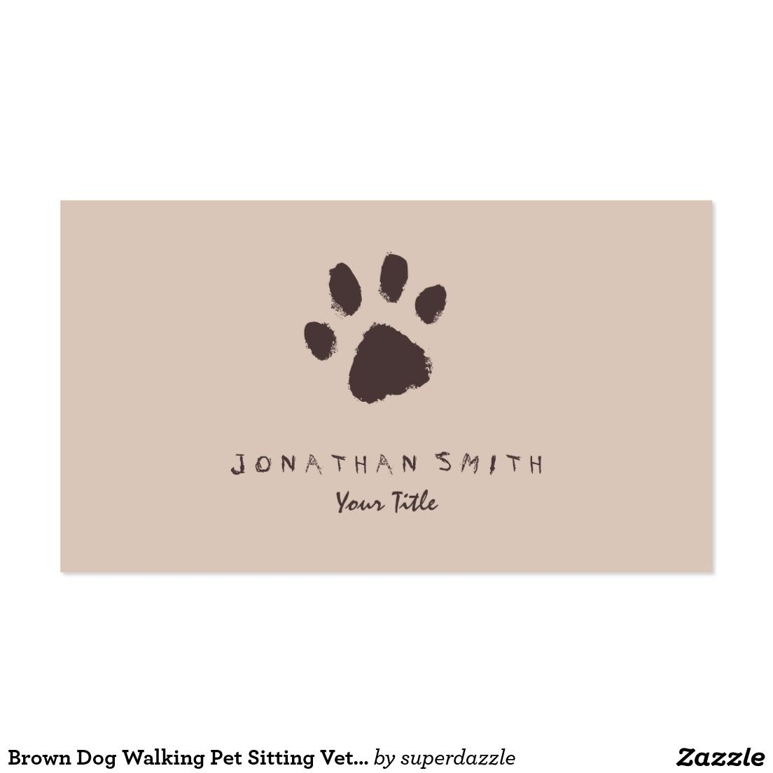 Brown Dog Walking Pet Sitting Vet Appointment Business Card. Fetures ...