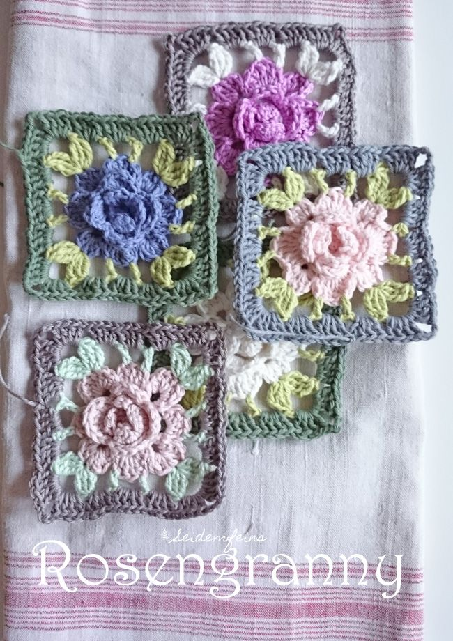 Rosengranny als Tutorial * Granny with a crochet rose - Tutorial ...