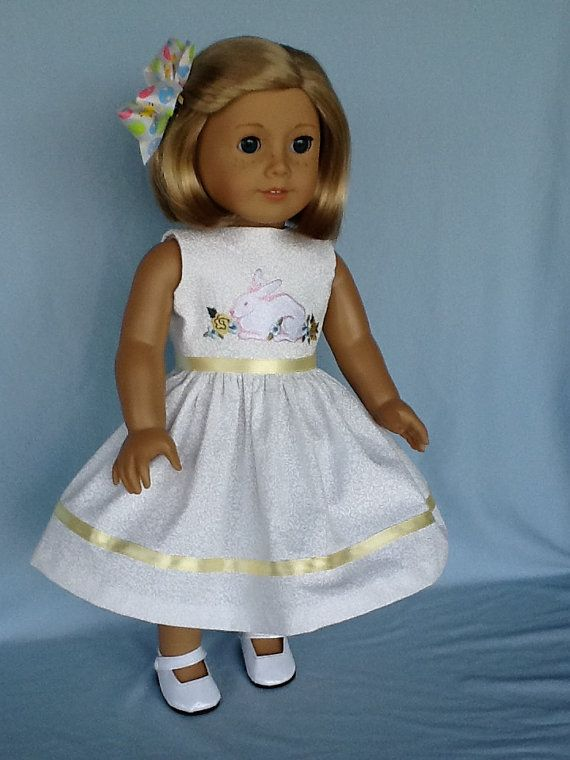 18 inch doll dress and hair clip. Fits American by ASewSewShop ...