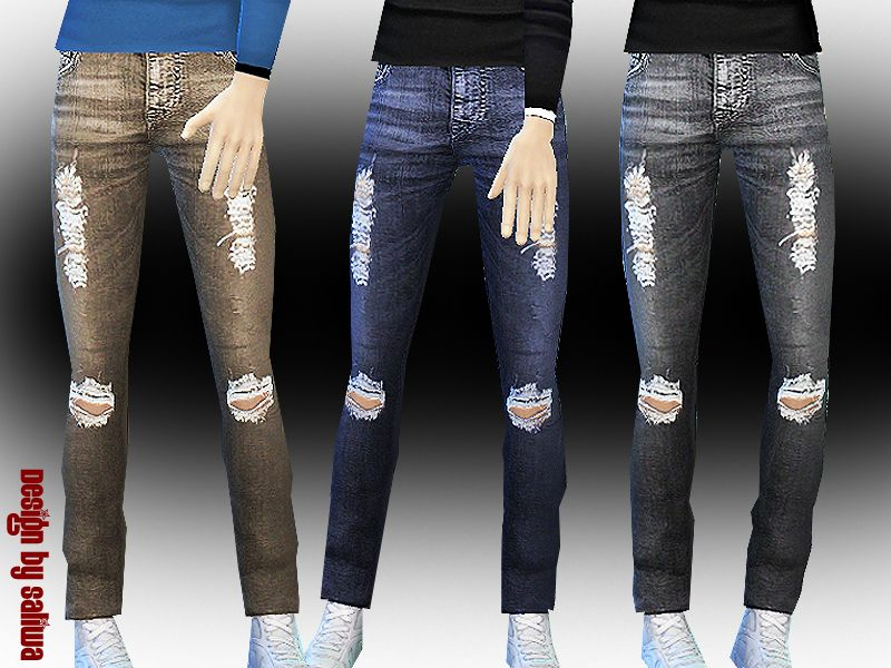 0e42160532f High quality texture with 3 colour options ripped jeans design by Saliwa  Found in TSR Category 'Sims 4 Male Everyday'