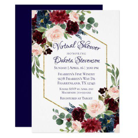 Floral bridal invitation Dusty blue shower invitation printed Jewel tones bridal invitation Watercolor flower bridal shower invitation