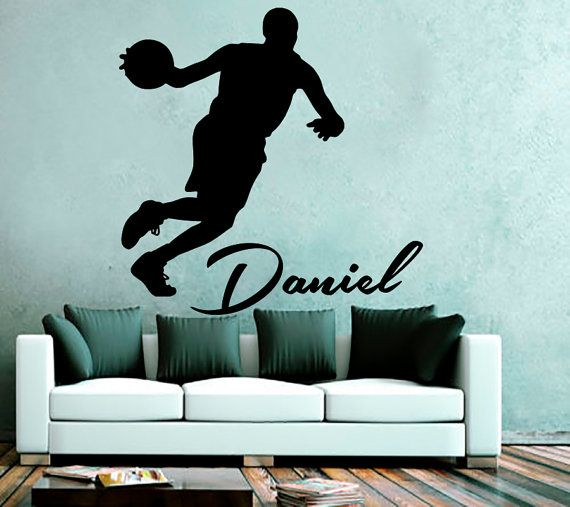 wall decals personalized name basketball decal vinyl on wall stickers for hall id=16378