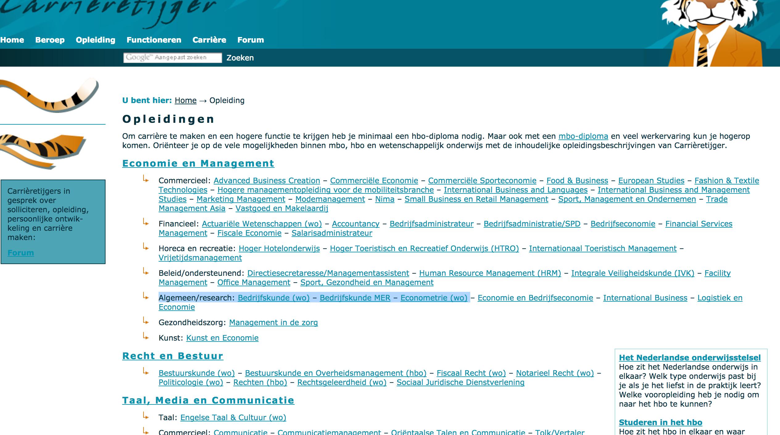 carrieretijger sollicitatie menu page http://.carrieretijger.nl/opleiding | Navigatie  carrieretijger sollicitatie