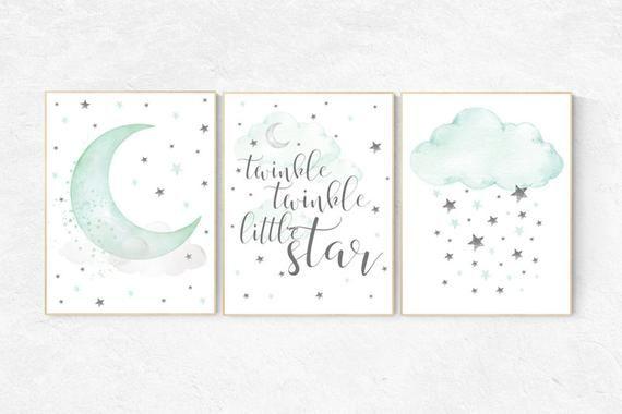 Mint nursery decor, twinkle twinkle little star, mint green nursery decor, mint green nursery, moon and stars nursery, gender neutral images