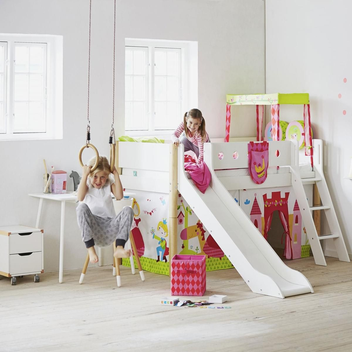 Flexa Mid High Bed With Straight Ladder And Slide White