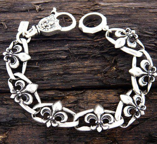 Designer Inspired Silver Stainless Steel Women or Mens Bracelet. Mens Stainless Steel Fleur De Link Chain Bracelet - 8 Inch Stigma,http://www.amazon.com/dp/B00CSXFA2K/ref=cm_sw_r_pi_dp_GUYRrbA06E3E4CAC