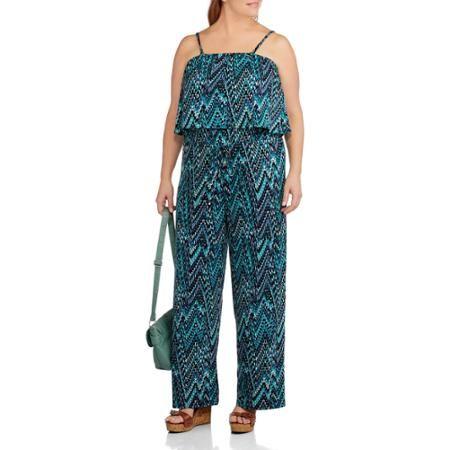 Concepts Women's Plus-Size Flutter Top Printed Jumpsuit with Removable Straps