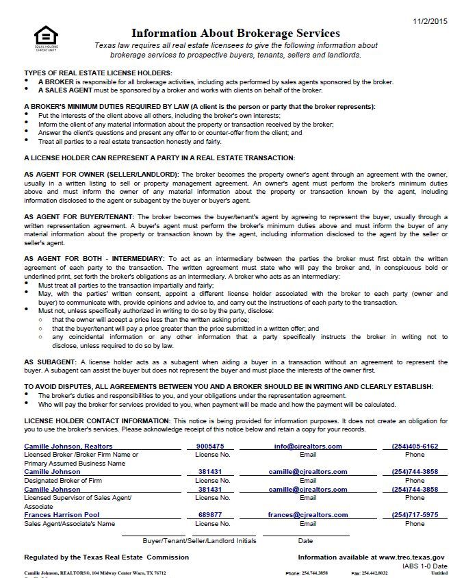 Information About Brokerage Services - Texas Trec IABS Form - management agreement