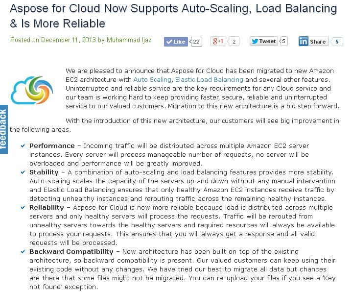 Aspose for Cloud has been migrated to new amazon ec2 architecture supporting auto scaling , Elastic load balancing and several other features. With this change Aspose for Cloud gets faster, secure, reliable and more powerful cloud service.  http://www.aspose.com/blogs/aspose-products/aspose-total-product-family/archive/2013/12/11/aspose-for-cloud-now-supports-auto-scaling-load-balancing-gets-more-reliable.html