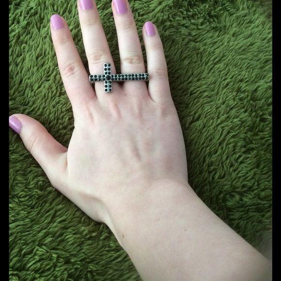 Charlotte Russe Jewelry - Black studded cross 2 finger ring