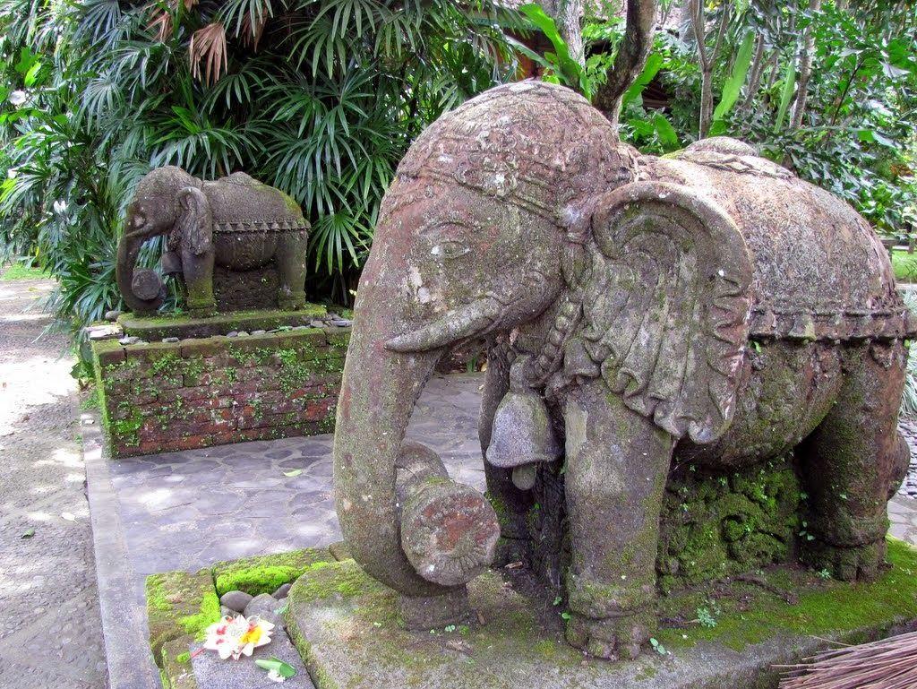 Captivating Carved Stone Elephants Line A Path At Tony Raka Gallery In Mas, Bali,  Indonesia