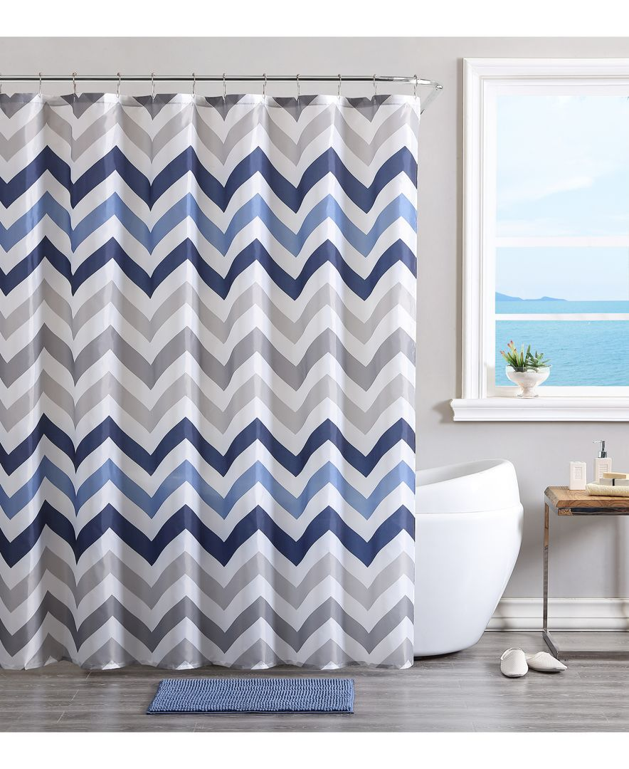 Vcny chevron bath rug shower curtain and shower hooks set