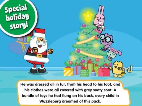 Wubbzy's The Night Before Christmas by Cupcake Digital - an interactive storybook (featuring the TV series character Wubbzy) plus extra activities. Original Appysmarts score: 83/100 #kidsapps