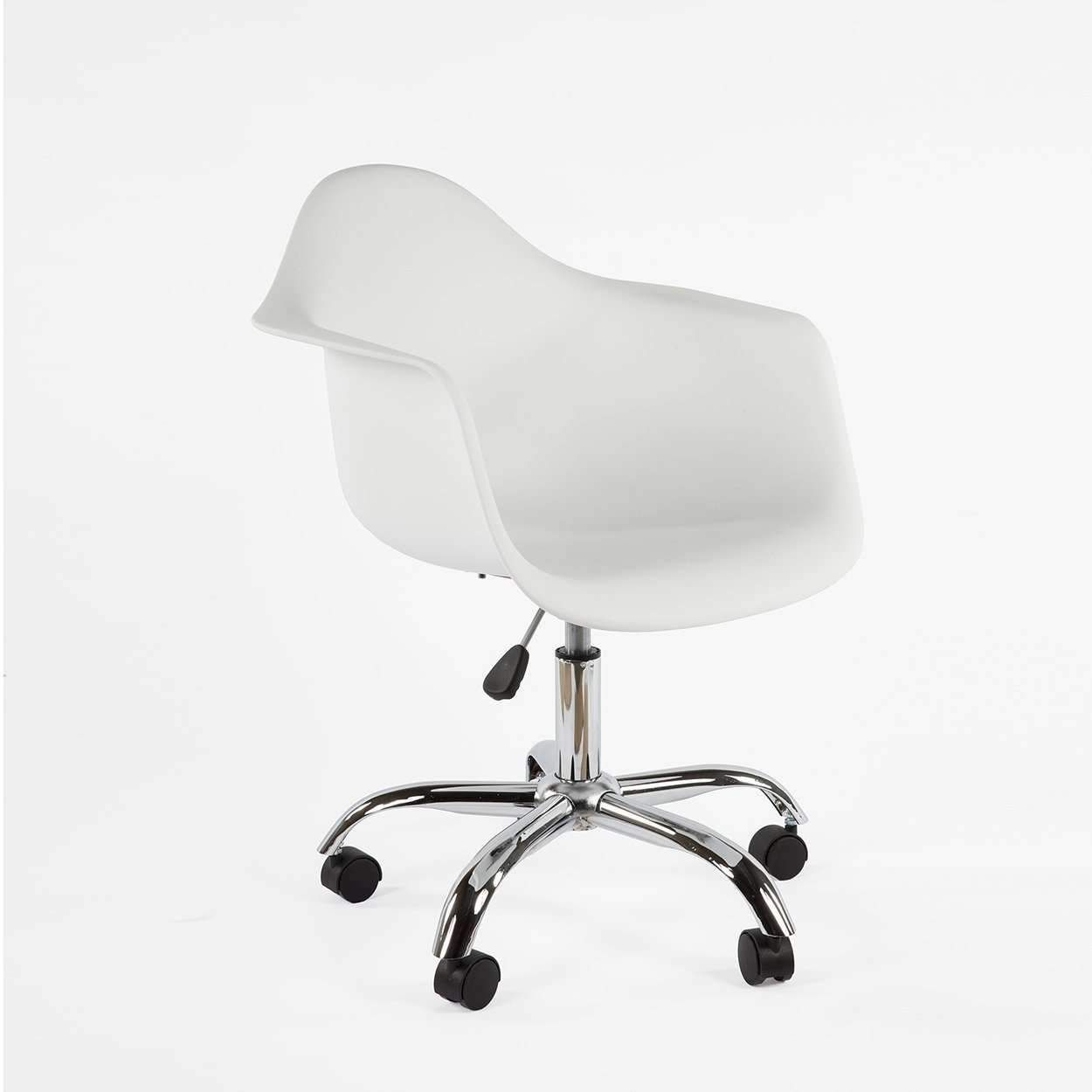 Mid Century Modern Shell Armchair With Caster Base In 2020 Mid Century Office Mid Century Office Chair Mid Century Desk Chair