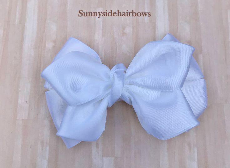 White Boutique hairbow, White Hair Bow Clip, Large White hair bows, Girls Big White bows, Big White