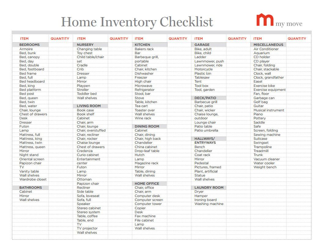 17 Best images about Home inventory – House Inventory List Template