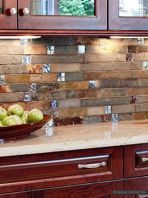 Brown Rusty And Gray Color Mix Unique Slate Kitchen Backsplash Tile With  Burgundy Color Glass Insert