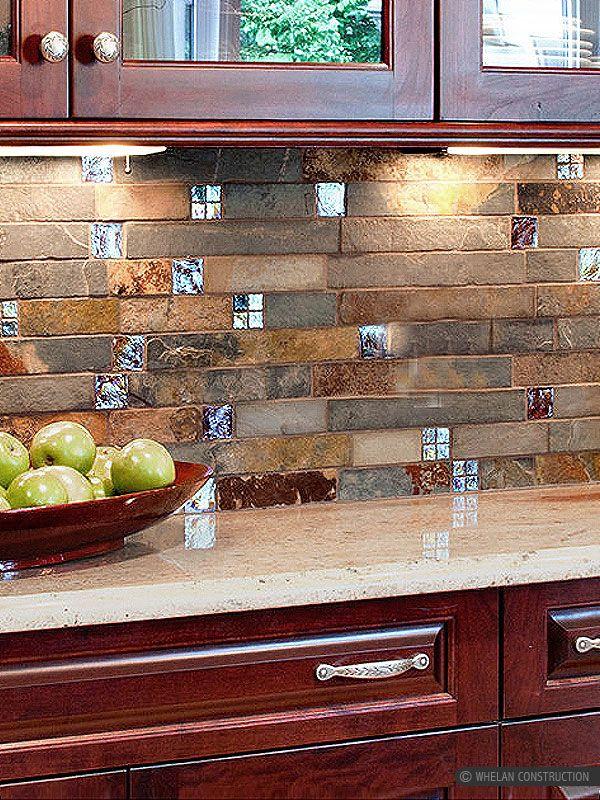 Brown rusty and gray color mix unique slate kitchen backsplash tile ...