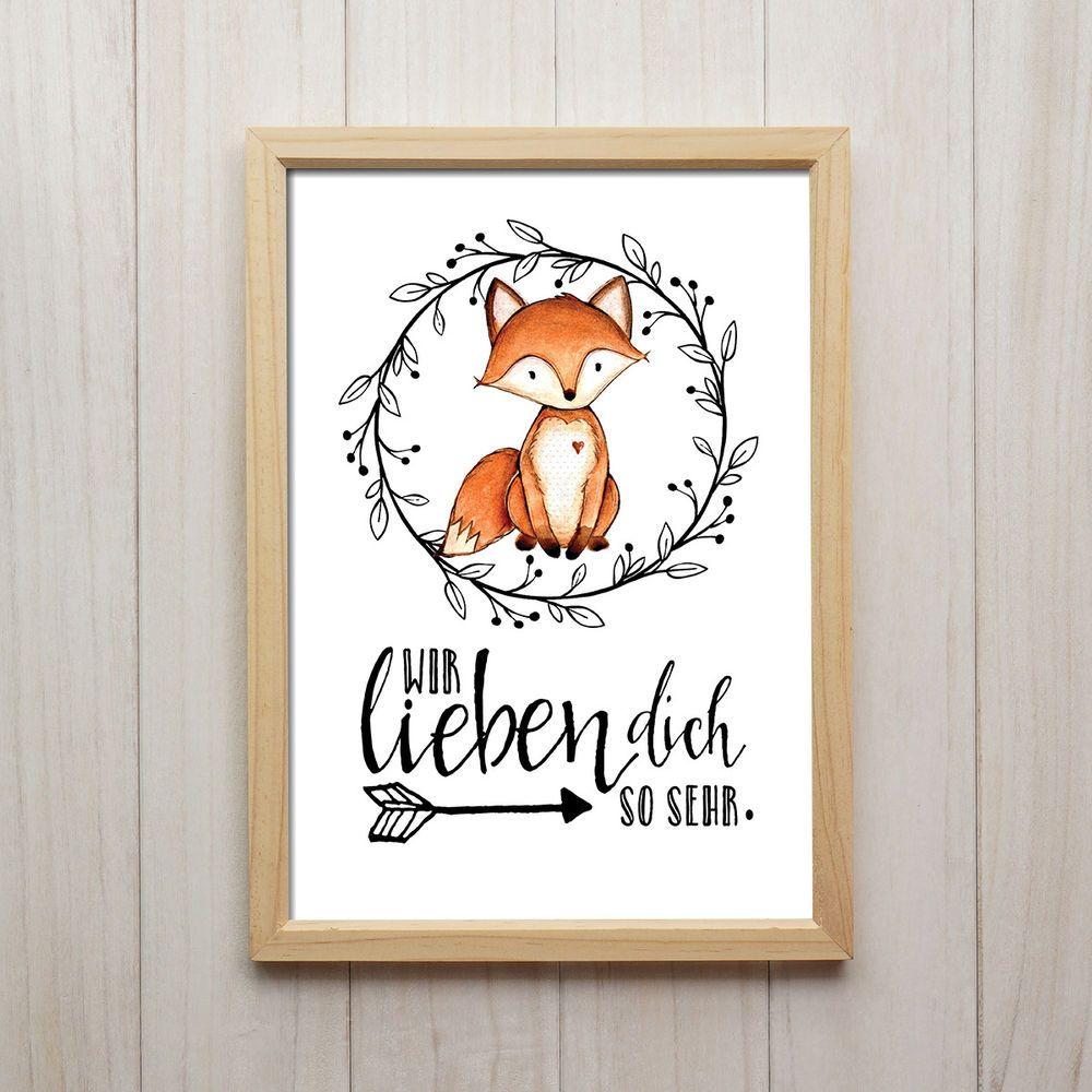 Bild wir lieben dich kunstdruck din a4 fuchs spruch tiere for Kinderzimmer bilder tiere