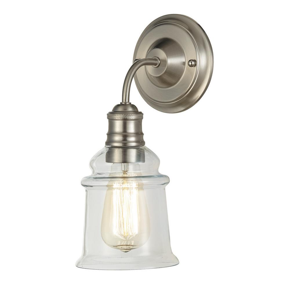 Home Decorators Collection 1 Light Antique Bronze Wall Sconce With Clear Glass Shade 7951hdcbz With Images Glass Wall Sconce Wall Sconces Polished Nickel Wall Sconce
