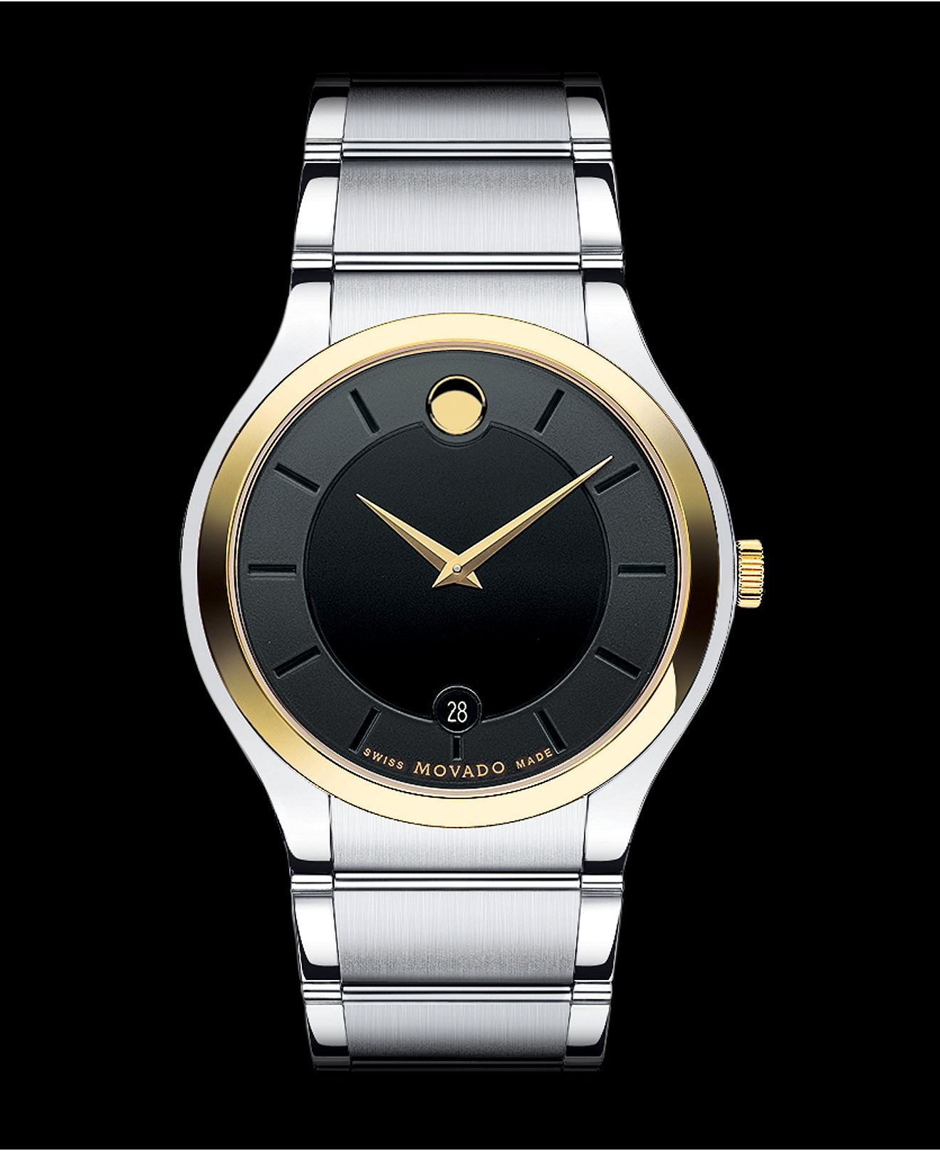 Movado watch men 39 s swiss quadro two tone stainless steel bracelet 38mm 0606480 a macy 39 s for Jewelry watches
