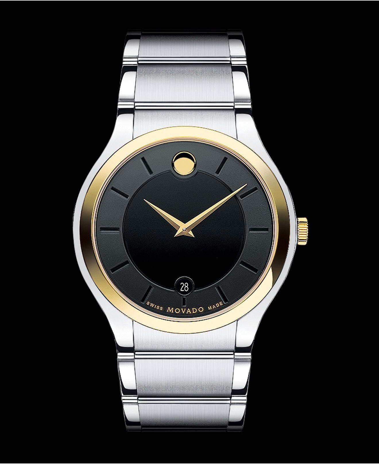Movado Watch, Men's Swiss Quadro Two Tone Stainless Steel Bracelet 38mm  0606480  A Macy's
