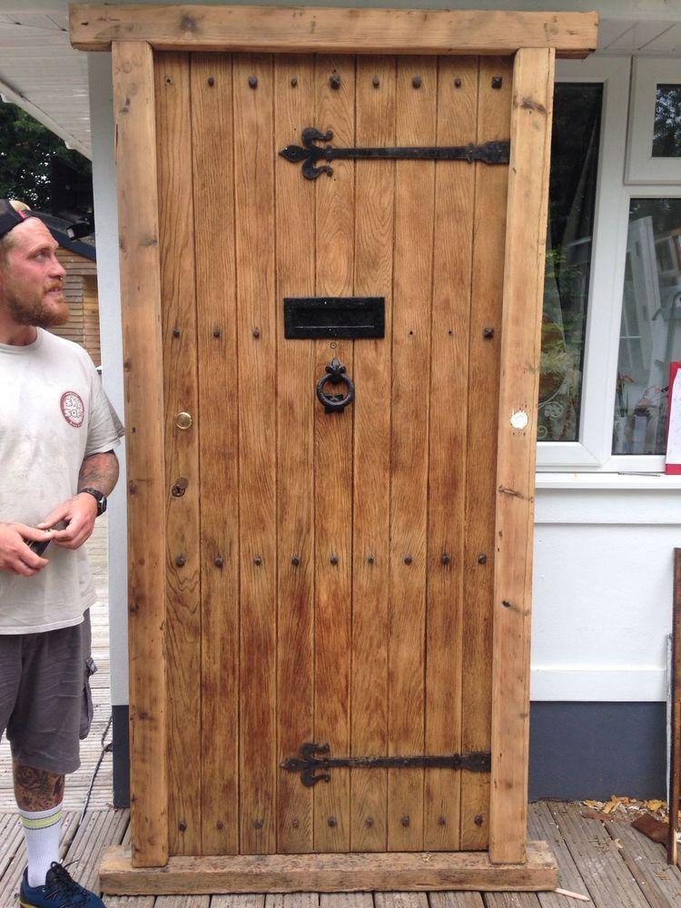 V Large Solid Oak Front Door Old Reclaimed Wood 1900s Period Frame