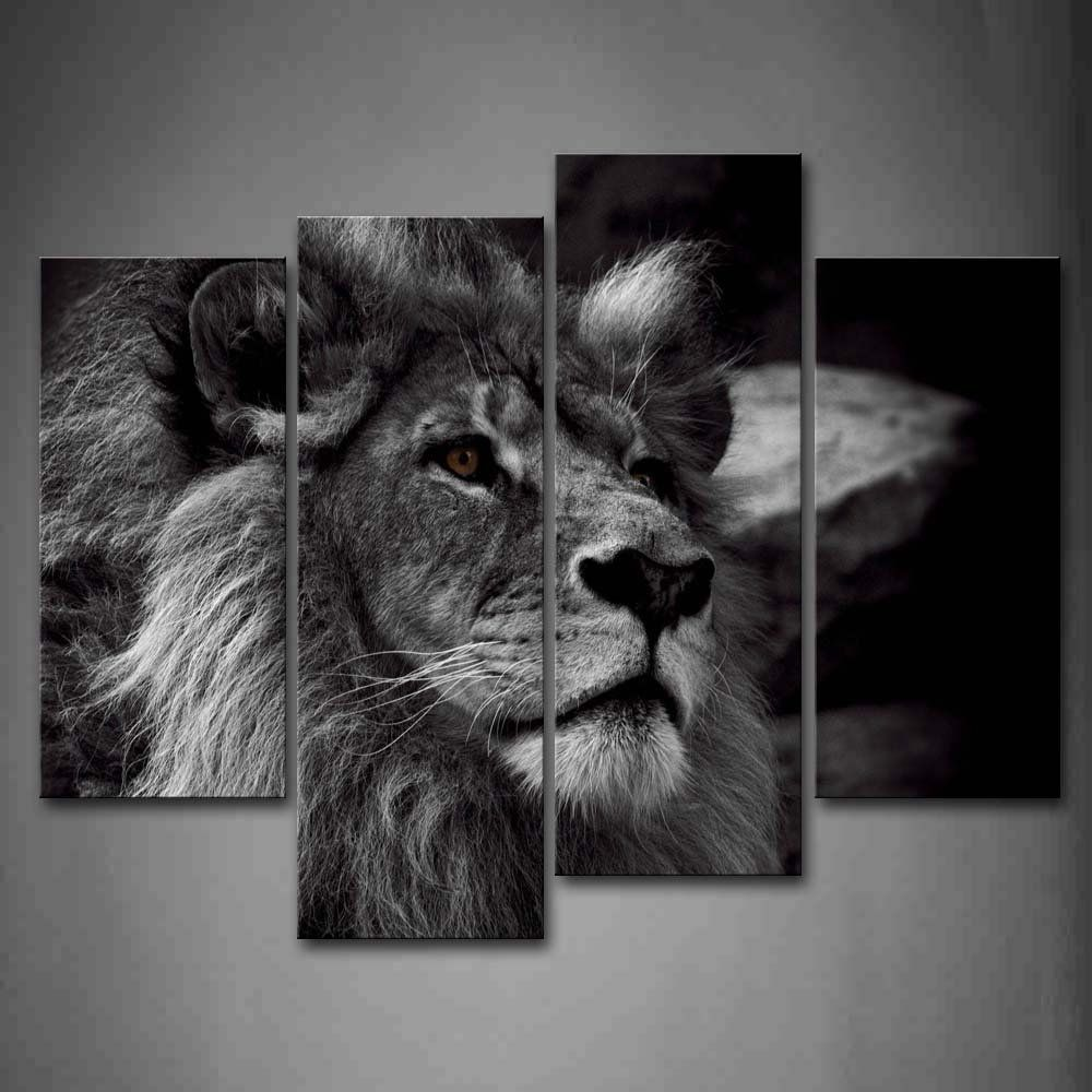 Amazon Com Black And White Gray Lion Head Portrait Wall Art Painting Pictures Print On Canvas Animal The Pict Lion Wall Art Black And White Lion Portrait Wall