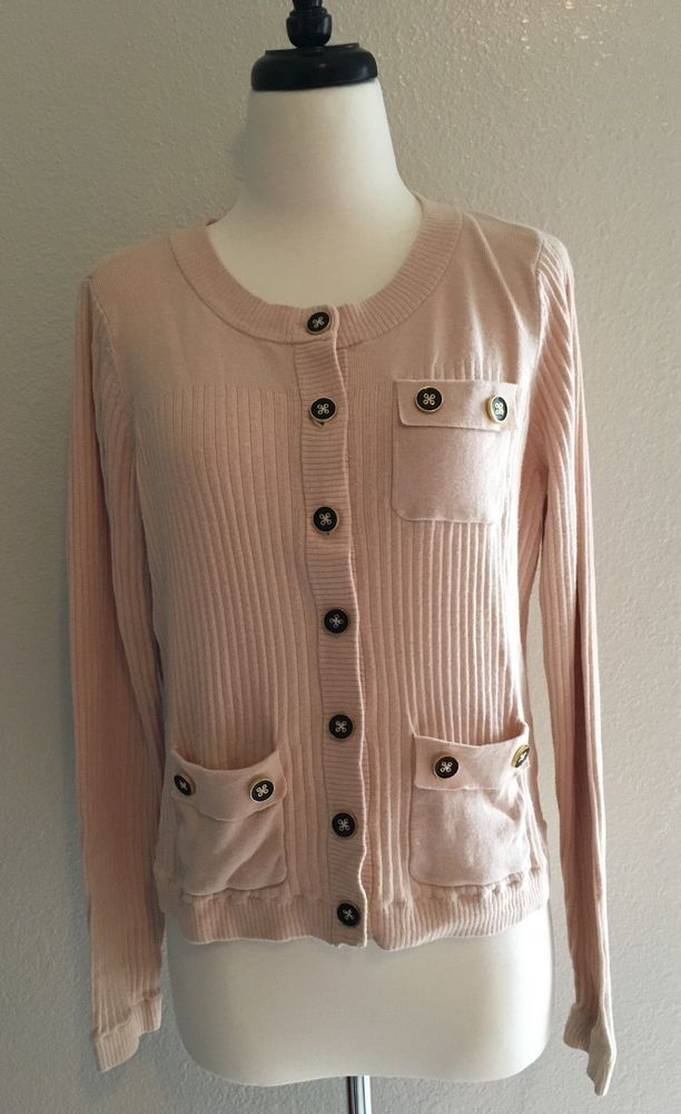 CAbi SZ L Cardigan Cameo Pink Button Cashmere Cotton Blend Sweater ...