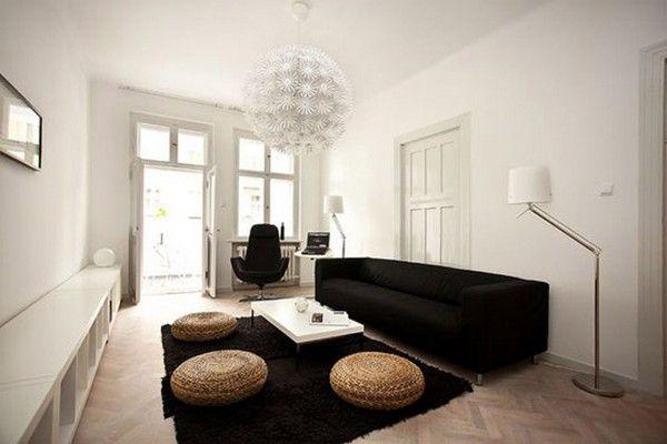 Apartment Fascinating Black Furniture Design Sofa On White Walls Paint Living Room Decorating Ideas Also Hanging Pendant Light Fixtures Brilliant