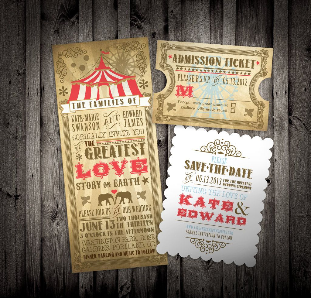 Vintage Circus Themed Wedding Party Invitations and Save the Dates ...