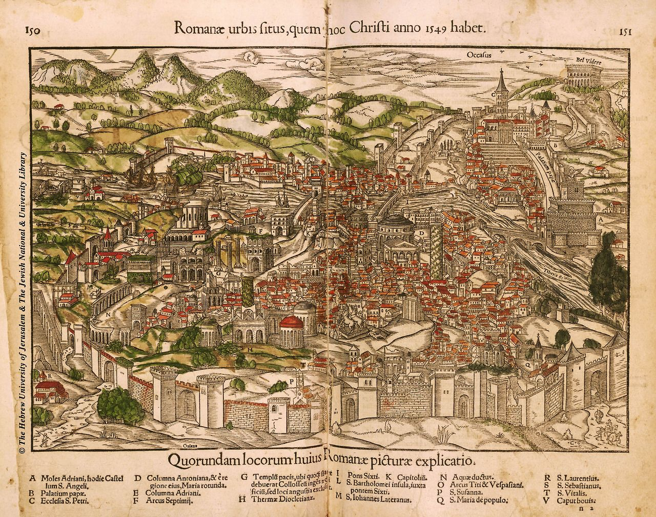 Romanae urbis situs,quem hoc Christianno 1549 habet  The Renaissance map of Rome by Sebastian Munster from Cosmographia1550 (Latin edition)  Munster's bio high-res map