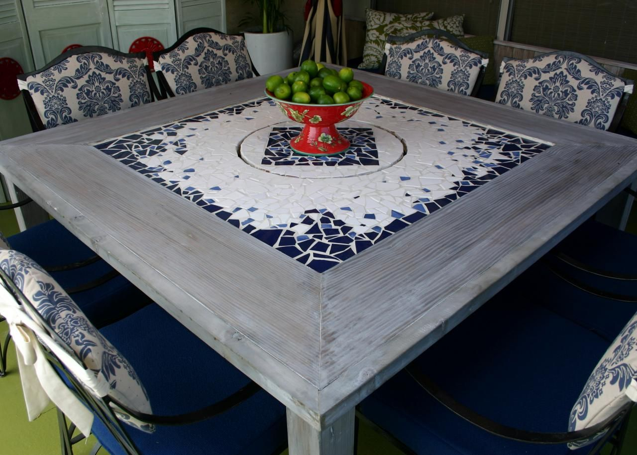 Mosaic Dining Table With Built In Lazy Susan
