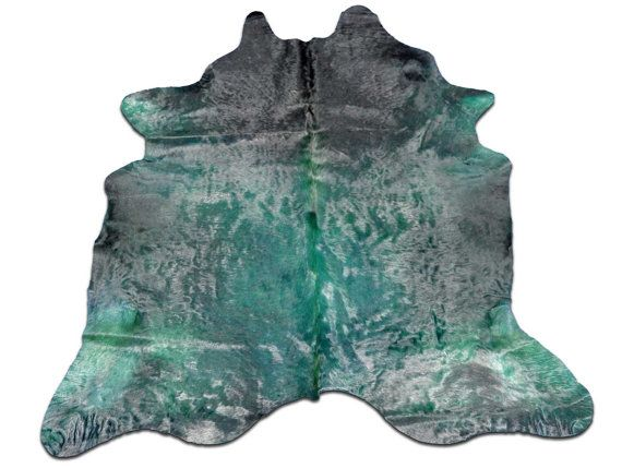 Green Dyed Cowhide Rug Size 7 X 6 Skin G 465