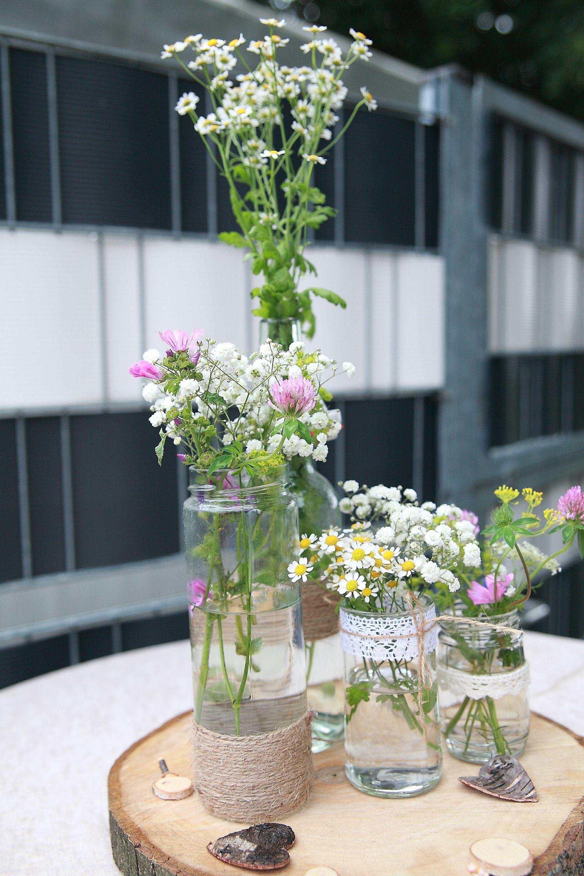 Wedding Hochzeit Dekoration Vintage Blumen Flaschen Diy Holz