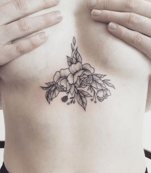 217b097198458 sternum flowers | Tattoos | Tattoos, Underboob tattoo, Chest tattoo